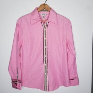 Façonnable Pink Button Front Shirt Size M